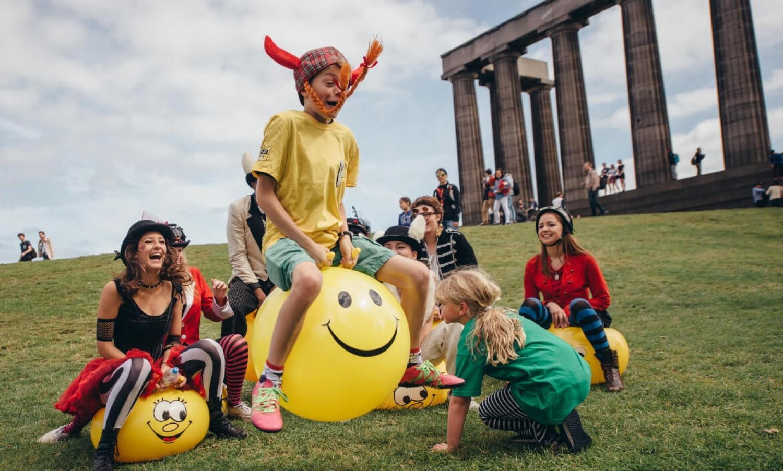 Children's activities on Calton Hill during the Edinburgh Festival Fringe.