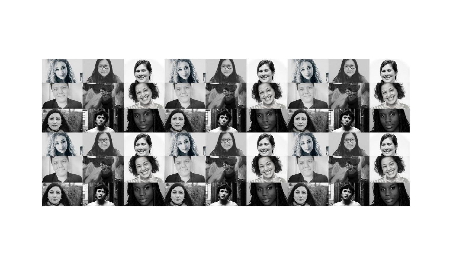 Black and white collage of portrait images of the fund awardees.