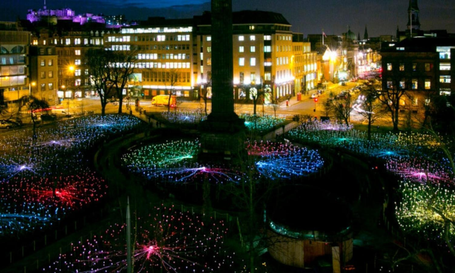 Field of Light installation by Bruce Munro in St Andrew Square Garden