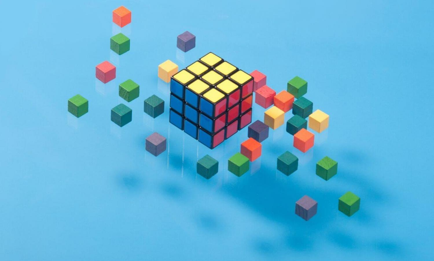 Floating cubes on blue background.