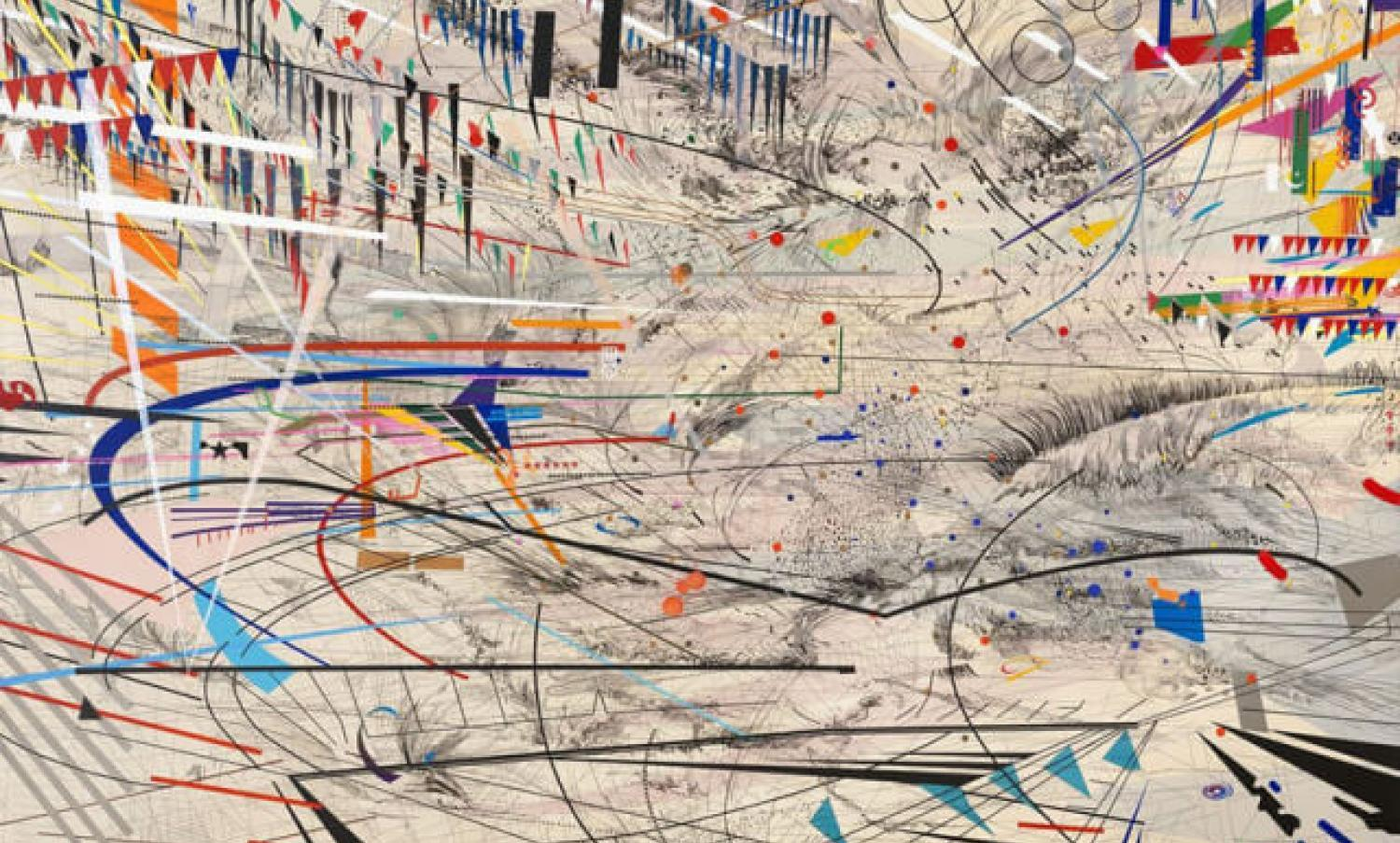 A brightly coloured picture with lines and shapes named stadia1 by julie mehretu