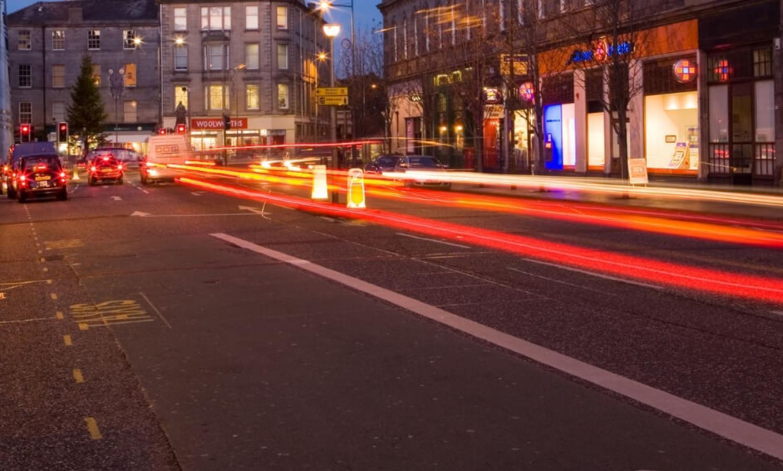 Leith Walk at night.