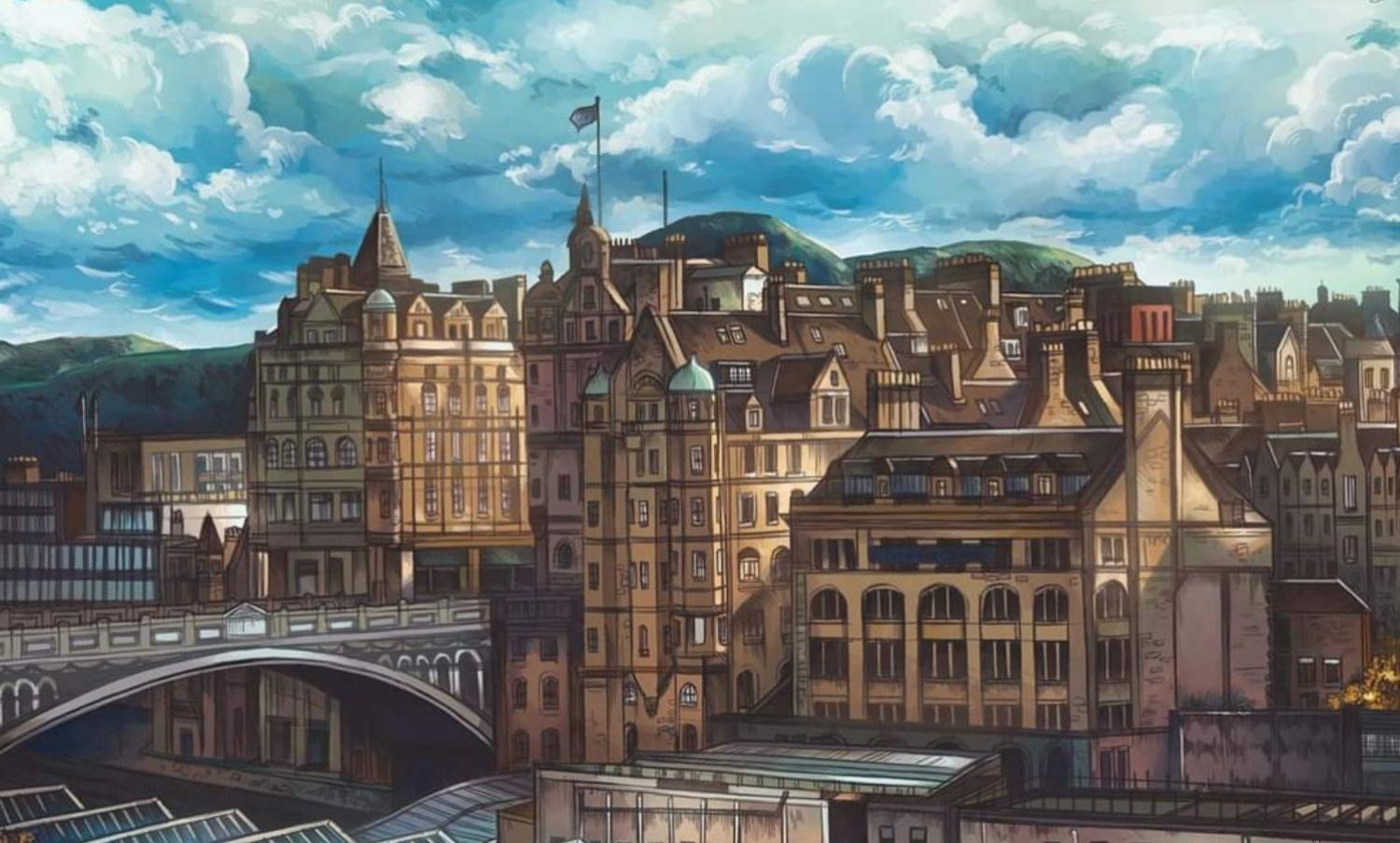 Illustration of North Bridge above Waverley Station as seen from Princes Street.