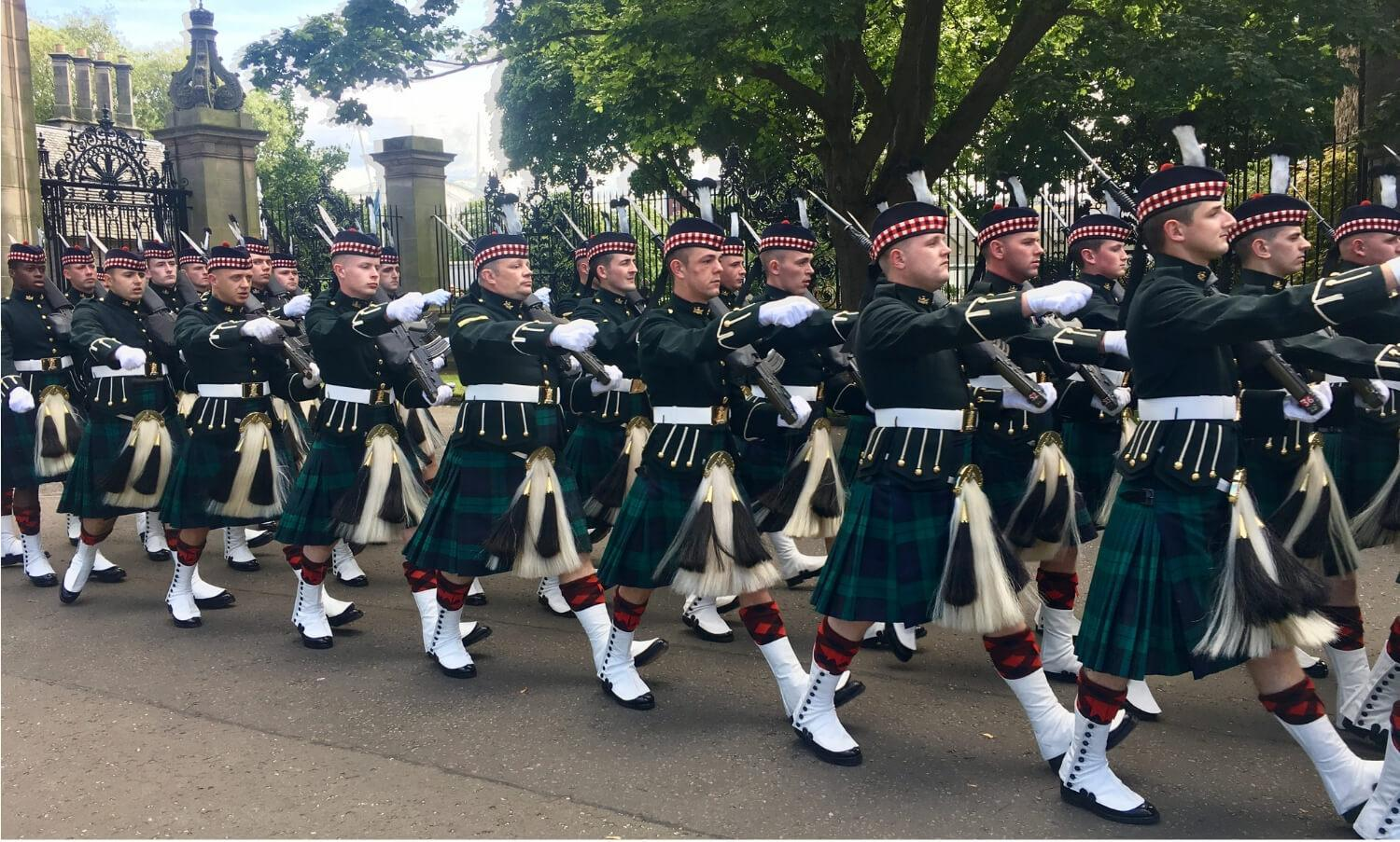 Troops marching at Royal Week, Palace of Holyroodhouse