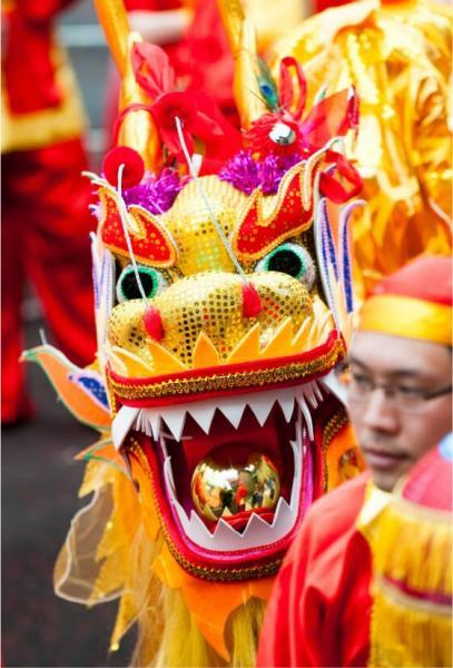 Edinburgh Jazz and Blues Festival. Chinese dragon at Carnival,