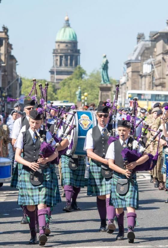 Pipes and Drums at Armed Forces Day parade 2018 (c) Ian Georgeson