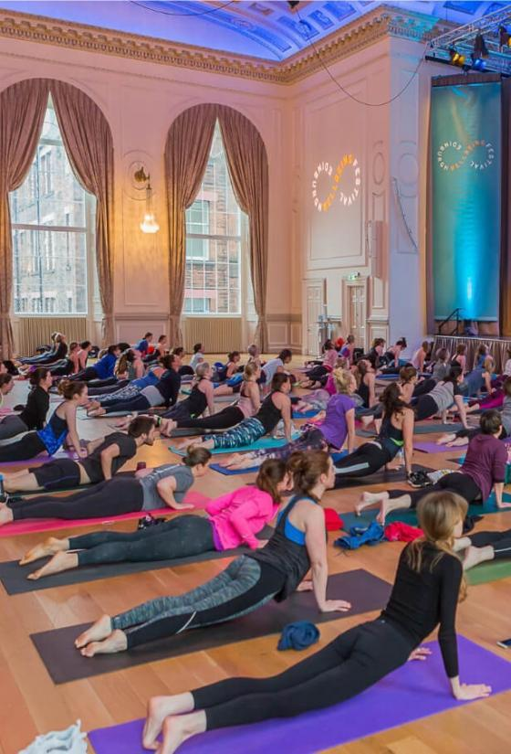 Yoga Class at the Wellbeing Festival in the Music Hall at the Assembly Rooms.