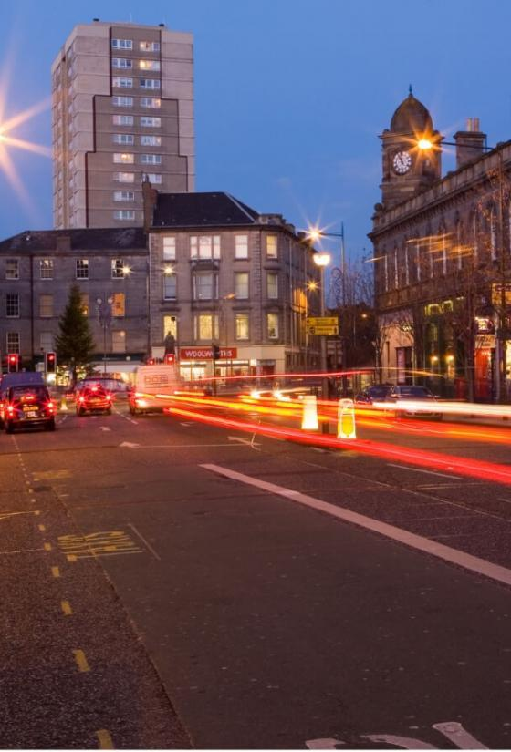 Leith Walk at night.