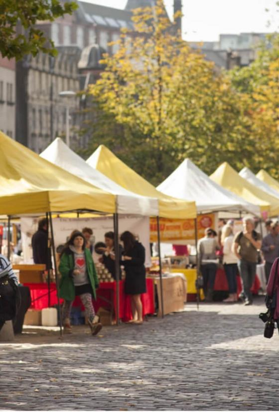 Weekend market in the Grassmarket.