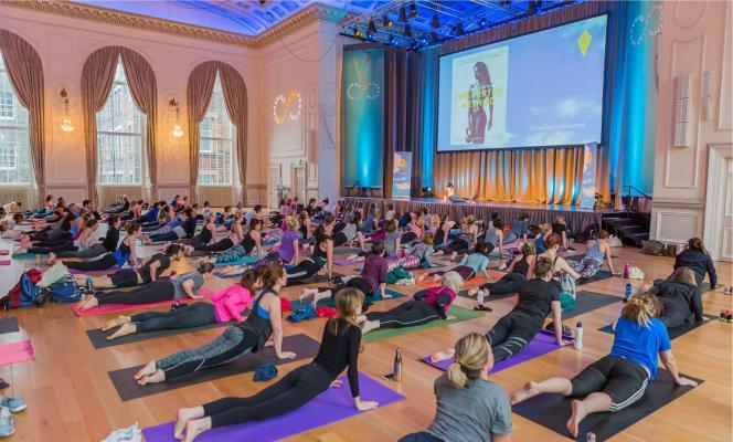Yoga class at the Wellbeing Festival, in the Music Hall at the Assembly Rooms