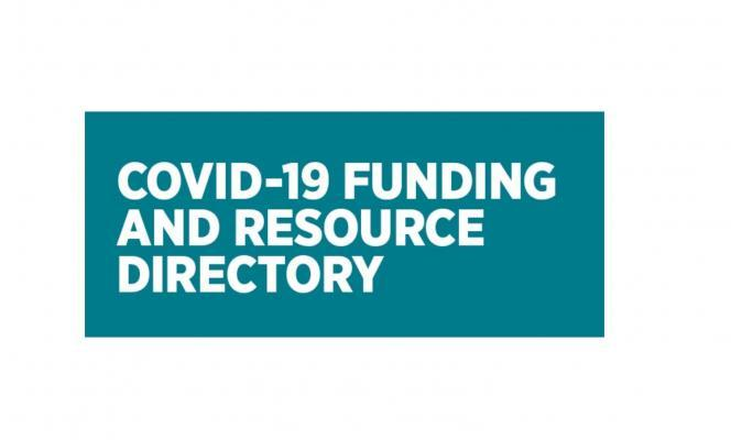 "Blue background, white text - ""Covid-19 Funding and Resource Directory"